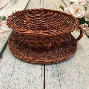 Tea cup wicker basket saucer decor plant pot brown